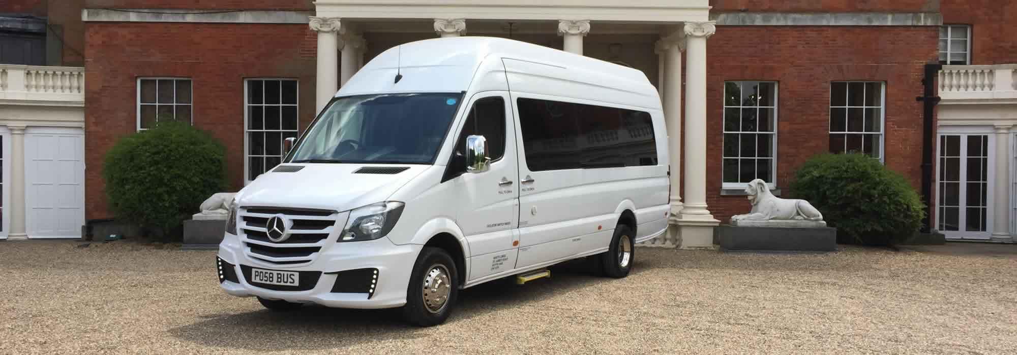 White Mercedes Party Bus hero